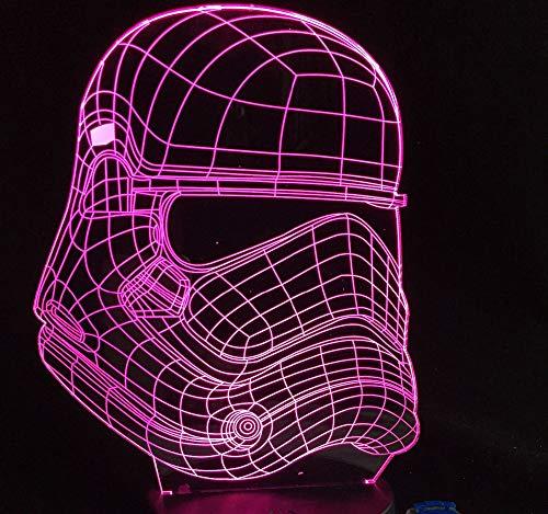 LLZGPZXYD USB creatief baby-nachtlampje, 3D-ridder van de storm, witte warrior, led-tafellamp, verjaardag, nachtkastje, decoratie, verlichting Touch Switch