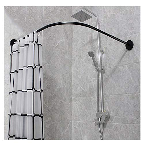 Y-only Black Shower Curtain Rod Fixed Mount, Corner Shower Curtain Rod Neo Angle, L Shaped Shower Curtain Rod Black, for Bathroom Kitchen Homeradian40:85x85cm