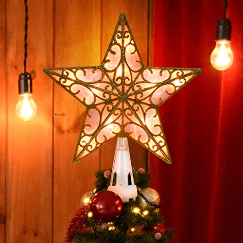 YUNLIGHTS Christmas Lighted Star Tree Topper, 9 Inch Gold Glittered Vintage Christmas Tree Toppers with Clip for Indoor Christmas Ornaments Party Home Decoration, Warm White