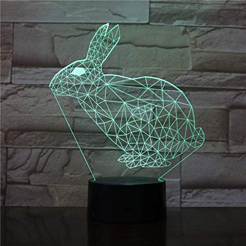 3D Illusion Light Led Night Light The Rabbit Animal for Girls for Indoor Decoration Atmosphere Touch Sensor USB Ight Children's BirthdayGifts