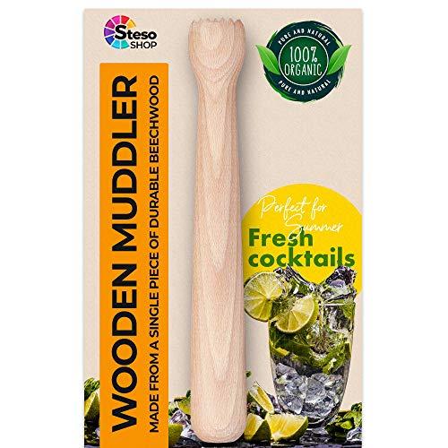 Pilon et broyeur en bois de 23 cm. Méga durable, stable, puissant. Pilon pour le gingembre, le citron, l'ail et le mojito + eBook de recettes bonus 10 boissons détox pour perdre du poids.
