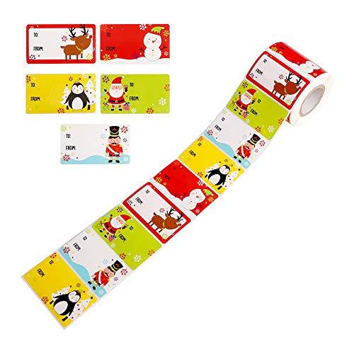 Etiquetas autoadhesivas navideñas Etiqueta de nombre de regalo Navidad 500 piezas 1 rollo de etiquetas adhesivas patrón de Papá Noel/alce/muñeco de nieve/pingüino Etiquetas adhesivas para frascos