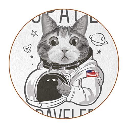 6 posavasos redondos de microfibra de piel antideslizante y resistente a los arañazos para el hogar, la cocina, la oficina, la barra decorativa, viajero espacial lindo gato