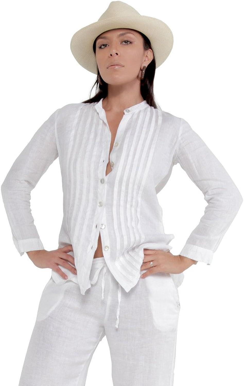 Claudio Milano Women's 100% Linen Button Down Shirt with Pleats