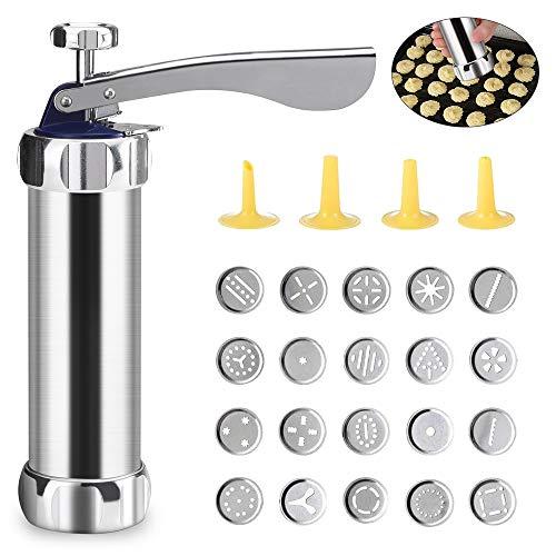 Achort Kit Máquina Galletas 20 Piezas Aluminio con Discos y Boquillas 20 Discos de Acero Inoxidable y 4 Boquillas para Masa y Fondant Principiantes y Profesionales