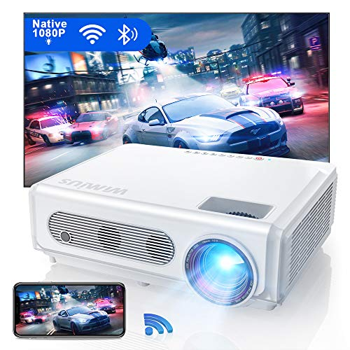 WiFi Bluetooth Projector Native 1080P 8000:1 Full HD Brightness Lumens, New WiMiUS S6 Home Theater & Outdoor Led Video Projector Support 4K / Zoom 50%, for Laptop, iPhone, Android, Fire TV Stick