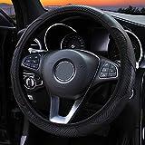Couverture de volant de voiture respirante en cuir PU anti-dérapant couvre la couverture de direction automatique universelle, pour la direction de voiture en fibre de carbone 37-38cm Decoratio