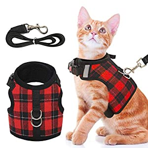 Cat Harness and Leash Adjustable Escape Proof Vest with 1.5m Strap Walking Outdoor Outfits for Small Animals Cat (S, M, L)