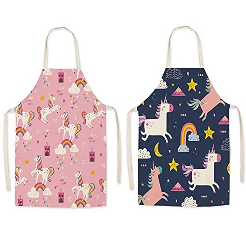 mellystore Delantal para Niños 2PCS Delantal Infantil Unicornios Delantal para Niños de Tela Delantal Infantil para Niños Niñas para Cocinar Pintura Artesanal Negro Rosa 8-12 Años