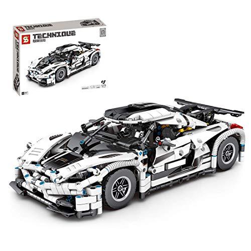 CYGG Bloques de construcción de Autos superportales - 1:14 Bloques de construcción de Carreras de Autos súper Deportivos estáticos - Compatible con Lego Technic - Plata (1275+ Piezas)