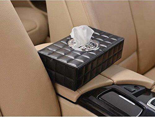 GyAfam Auto met papieren handdoeken, home automotive, tweekleurig leer 25 * 13 * 6.3cm auto papier handdoek zuigen, Kleur: wit