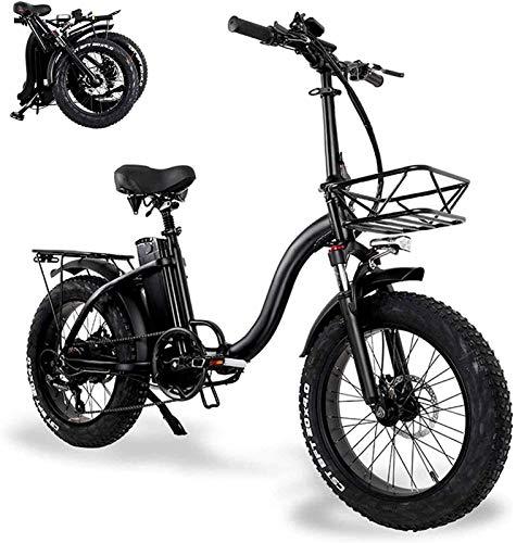 RDJM Bici electrica, 20 Pulgadas for Adultos Plegable Bicicleta eléctrica, Desmontable 48V 15AH de Litio Ion, Neutro Pequeño aleación de Aluminio Vespa con LED Pantalla LCD
