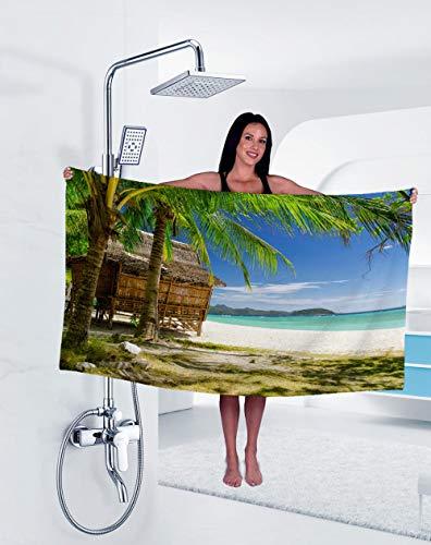 Toalla Absorbente De Terciopelo De Doble Cara con Vista Al Mar Toalla De Playa Impresa Toalla De Baño De Microfibra para Nadar-Hjst006_El 100X30Cm,