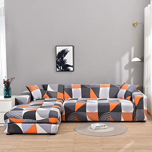 ASCV Printed L Shape Sofa Covers for Living Room Anti-dust Sofa Protector Elastic Couch Covers for Sectional Corner Sofa A9 2 seater
