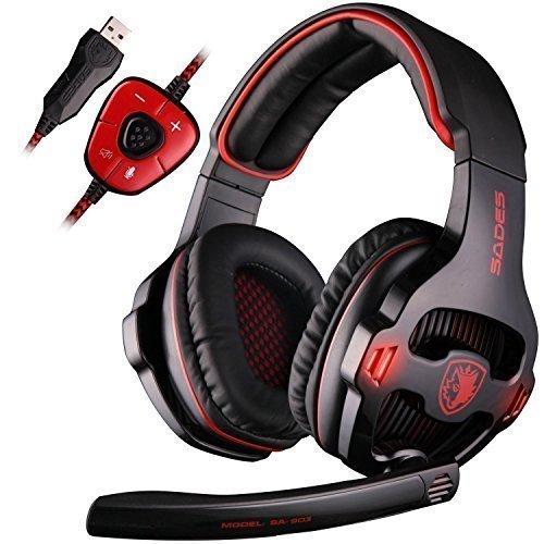 SADES SA903 7.1 Kanal Virtual USB Gaming Headset Surround Stereo Kabel PC Gaming Headset Over Ear Kopfhörer mit Mikrofon Lautstärkeregler Noise Cancelling LED Licht (Schwarz/Rot)