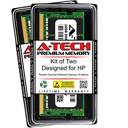 A-Tech 32GB (2 x 16GB) RAM for HP Pavilion Gaming Notebook Gaming 15-DK0XXX | DDR4 2666MHz SODIMM PC4-21300 260-Pin Non-ECC Memory Upgrade Kit