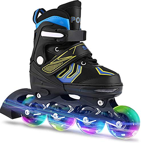 ANCHEER Inline Skates Adjustable Women Men Kids Roller Skates for Girls Boys Size 12-8 Aggressive Urban Toddler Skating