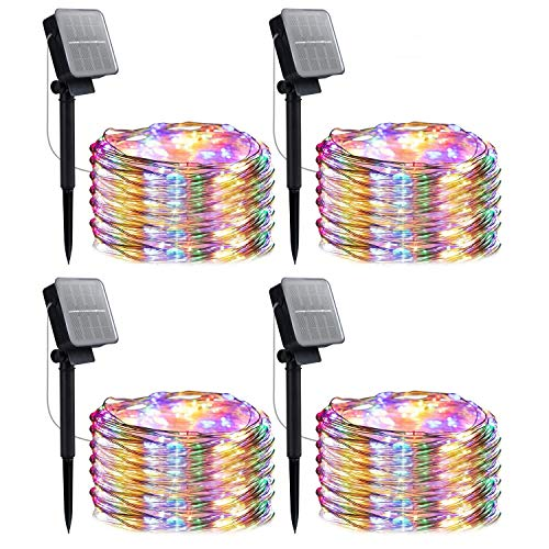 Outdoor Solar String Lights, 4 Pack 33FT 100 LED Solar Fairy Lights Waterproof Decoration Copper Wire Lights with 8 Modes for Indoor Outdoor Patio Yard Trees Christmas Wedding Party Decor(Multi-Color)