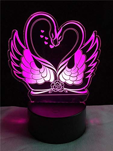 Novelty Swan Shape 3D Lamp LED USB Lamp Light Touch RGB Colors Changing Table Night Light Bedside Decoration LED Lamp