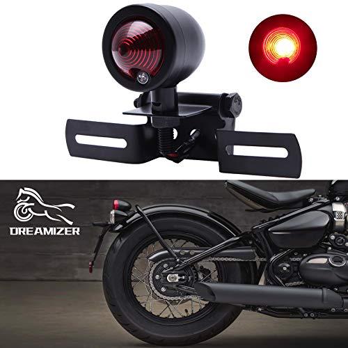 DREAMIZER 12V Moto Feux Stop Indicateurs, Rouge Moto Feux Arrière LED pour Bobber Chopper Cruiser Dyna Glide Sportster