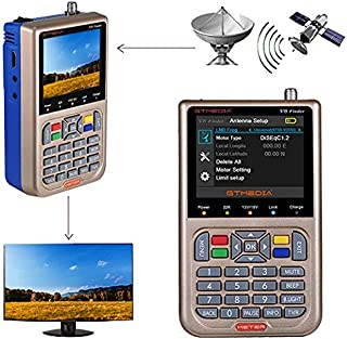 "GT MEDIA V8 Satellite Finder Meter TV DVB-S/S2/S2X Signal Receiver H.264 Sat Detector, HD 1080P Free to Air FTA 3.5"" LCD Built-in 3000mAh Battery for Adjusting Sat Dish"