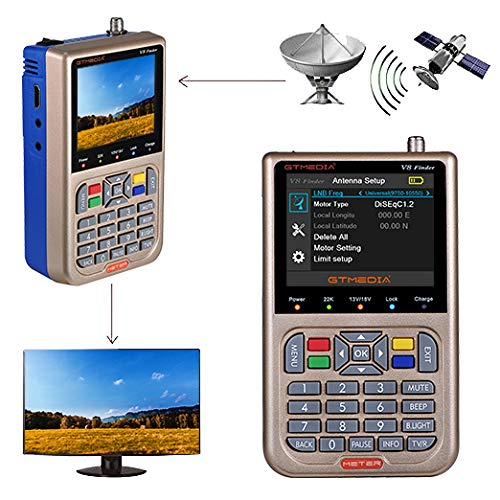 GT MEDIA V8 Satellite Finder Meter Digital Satellite Signal Receiver Detector DVB-S S2 S2X, HD 1080P 3.5  LCD Display Built-in 3000mAh Battery with Sound Output for Satellite Dish Adjustment