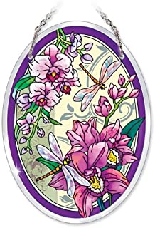 Amia 41015 Hand Painted Beveled Glass 5-1/2 by 7-Inch Oval Sun Catcher, Orchid Collage with Dragonfly, Medium
