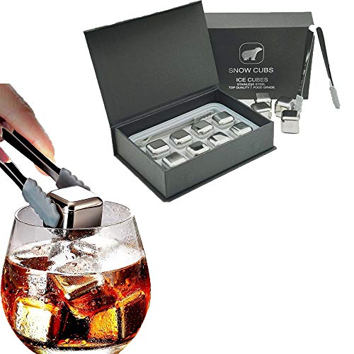 Whiskey Stones Gift Set,Reusable Stainless Steel Ice Cubes,Metal Whisky Chilling Rocks with Ice Tongs and Freezer Storage Tray for Whiskey, Wine,Cocktails Bourbonor any Drinks(Silver, 8)