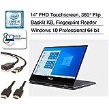 "Asus VivoBook Flip 14.0"" Full HD Touchscreen 2-in-1 Laptop, Quad Core i5-8250u, Backlit Keyboard, Fingerprint Reader, Windows 10 Pro + CUE Accessories (8GB DDR4 | 512GB SSD)"