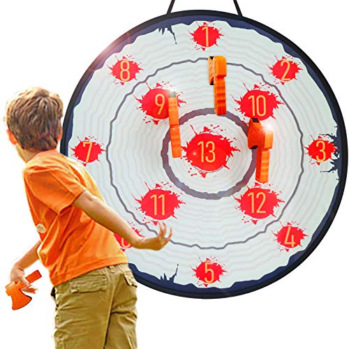 AUBESTKER Foam Toys Throwing Axe Toss Game, Dart Board Game for Kids, Target Games Adults Teens Family Backyard Party Play, 28'' Folded Board, 4 Sticky Axes