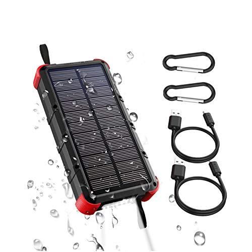 OUTXE Solar Powerbank Outdodor 20000mAh Quick Charge 4A Dual Eingang (Type C und USB) IP67 Wasserdicht...