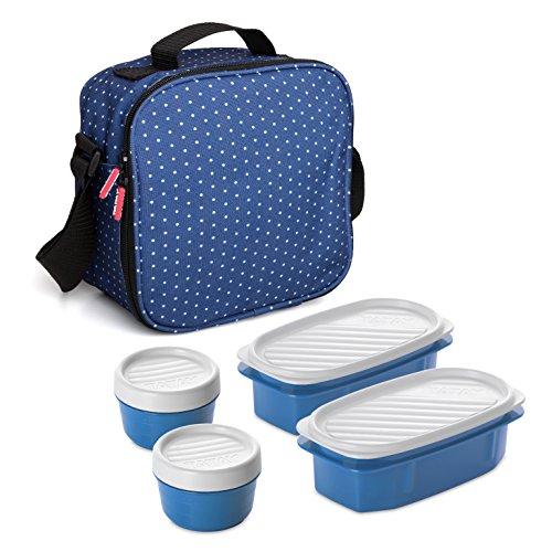 Tatay Urban Food Casual, Bolsa Térmica Porta Alimentos, 3L de Capacidad, con 4 Tuppers Herméticas (2 x 0.5L, 2 x 0.2L), Color Azul con Puntos. Medidas 22.5 x 10 x 22 cm