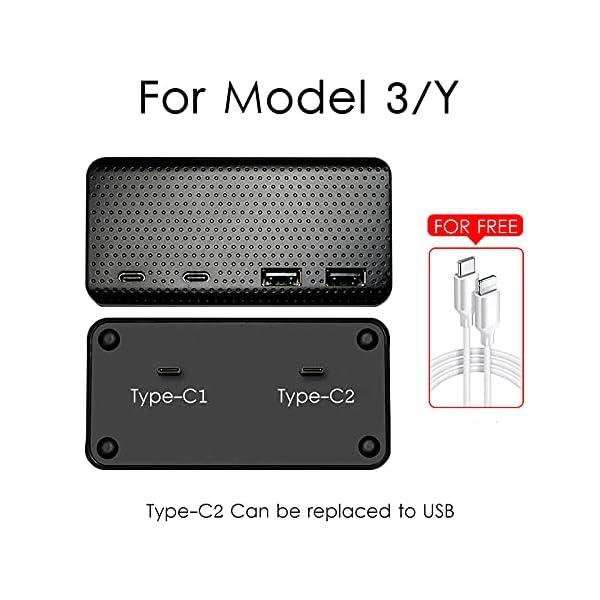 sumk 2021 tesla model 3/y 4-port usb hub center console adapter, model 3 model y accessories game & boombox music usb…