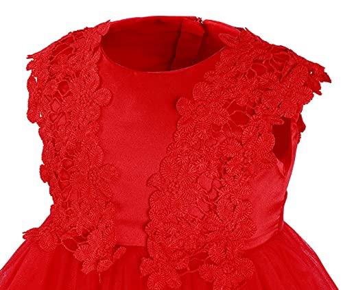 mintgreen Vestido Princesa Bebe Niña, Boda Fiesta Flor Cordón Tutu Tul Vestidos con Sombreros, Rojo, 6-9 Meses