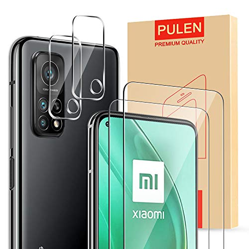 [4-Packs] PULEN for Xiaomi Mi 10T/Mi 10T Pro Screen Protector(2 Packs) with 2 Packs Camera Lens Protector,HD Clear Scratch Resistant Bubble Free Anti-Fingerprints 9H Hardness Tempered Glass