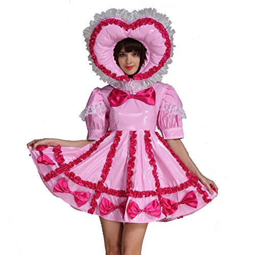 GOceBaby Erwachsene Baby Sissi Abschließbar Dienstmädchen PVC Rosa Kleid Uniform Kostüm (3XL)
