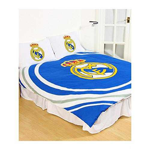 Real Madrid CF - Juego de Cama Reversible Oficial diseño Pulse del Real Madrid (Doble) (Azul/Blanco)