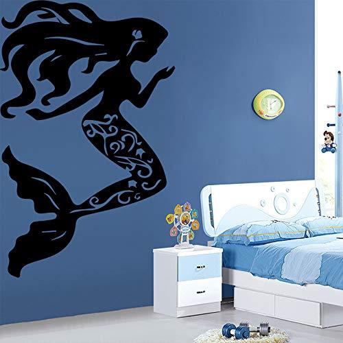 Schöne kleine Meerjungfrau Wandaufkleber für Wohnkultur Wohnzimmer Mädchen Zubehör Wasserdichte Kunst Aufkleber Grau L 43cm X 68cm