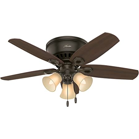 Amazon.com: Hunter Fan Company 51091 Hunter Builder Indoor Low Profile  Ceiling Fan with LED Light and Pull Chain Control, 42