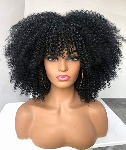 Short Curly Afro Wig with Bangs for Women Kinky Curly Hair Wig for Black Women Synthetic Heat Resistant Full Wigs(BLACK)