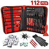 Amorka 112Pcs Trim Removal Tool Kit, Pry Tool Kit Door Panel Trim Puller, Terminal/Radio Removal Tool Set, Auto Clip Pliers Fastener Remover Panel Removal Tool Kit, Pry Tool Set with Storage Bag, Red