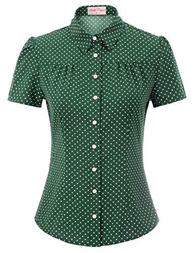 50er Jahre Tops Vintage Retro T-Shirt Orange Kurzarm Polka dots Oberteil Bluse XL BP870-9