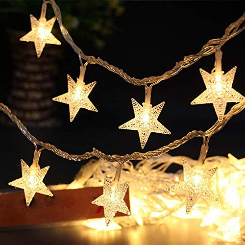 Star Fairy Lights Galaxer 40 Pcs LED Star Night Christmas String Light 20ft/6M Two Mode Monochrom and Shining Warm White Decoration Light Waterproof for Birthday Holiday Party
