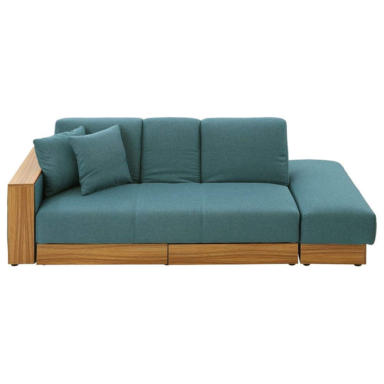 エコー難しいばかぼん家具 リクライニングソファベッド ロータイプ 収納 [ファブリック] ブルー