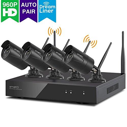 xmartO WOS1384 schwarz, kabellos Videoüberwachung system, Bewegungsmelder 8 Kanal 4x 960p Kamera HD Innen Außen IP funk WiFi wetterfest Nachtsicht 25m, Plug and Play, App