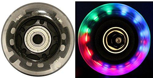 LED Inline Wheels 64mm 82a Skate Roller blade Ripstik Light Up 4-Pack w  Bearings