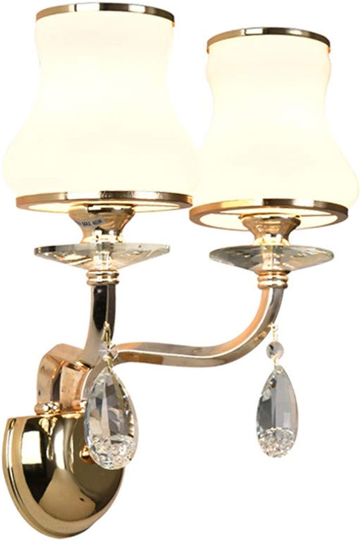 RENYAYA Single Double LED Crystal Wand Lampe Wohnzimmer Schlafzimmer Studie Aisle Bedside Lampe Luxus-Atmosphre Hotel Wand Lampe Zu Hause Dekoration Art,Doublehead