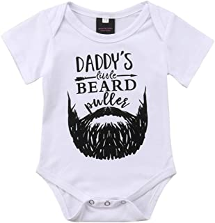 I was Daddy's Fastest Swimmer/Daddy's Beard Unisex Newborn Baby Girls Boys Letter Bodysuit Romper Tee Playsuit Outfits