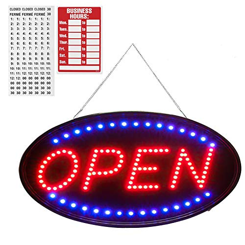 """SK Depot Open Sign with Business Board 19""""x10"""" LED Open Sign Electronic Billboard Bright Advertising Board Flashing Window Display Sign with Motion -""""Open"""" (Red/Blue) - Two Modes(Oval 19x10 inch)"""