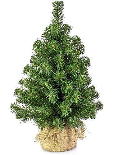 Alberetto di Natale Pinetto 45 cm con LUCI- Albero di Natale Piccolo 50 Rami Ø 25cm Ignifugo con Sacco in Juta Base Solida da Tavolo, scrivania, davanzale